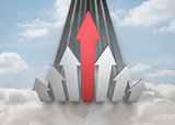 Red and grey curved arrows pointing up against sky