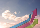 Colourful curved arrows pointing up against sky