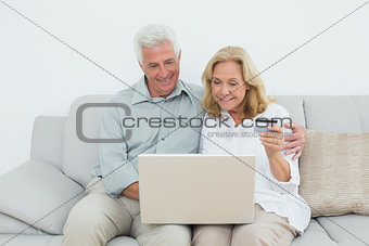 Senior couple doing online shopping on sofa
