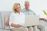 Relaxed senior couple using laptop at house