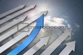 Blue and grey arrows pointing up against sky