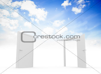 Closed and open doors in sky