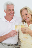 Cheerful senior couple toasting champagne flutes