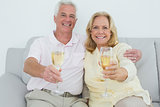 Senior couple holding champagne flutes at home