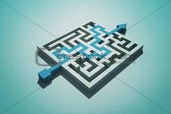 Blue arrow going through puzzle