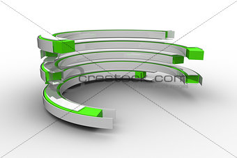 Green and white curved structure