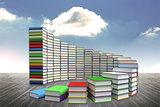 Steps made of books against sky