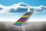 Book steps against sky