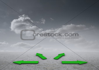 Green arrows in a desert landscape