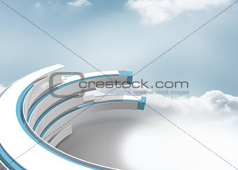 Blue and white structure in the sky