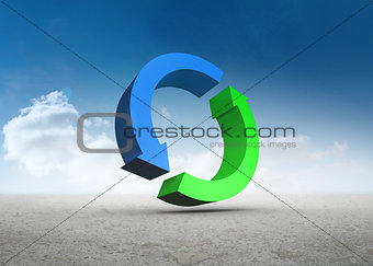 Blue and green arrows in desert landscape