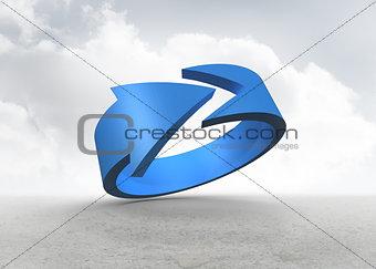 Blue arrow in a desert landscape