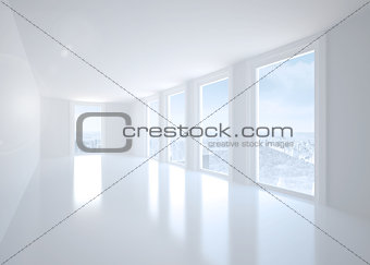 Bright white corridor with windows