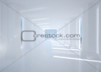 Bright white hall with columns