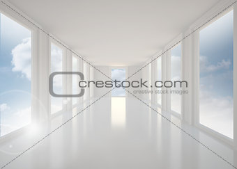 Bright white hall with windows