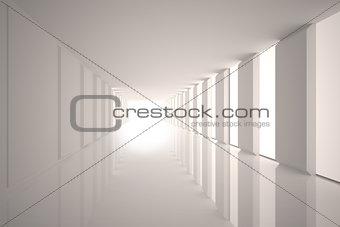 Lit up white modern hallway