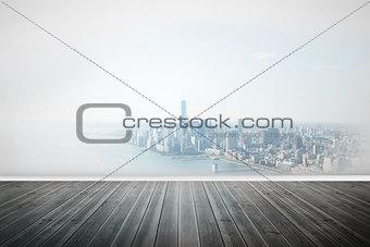City scene in a room