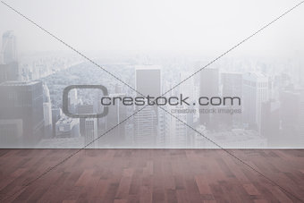 City scene in a room