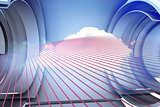 Pink pattern with cloud design on a futuristic structure