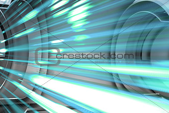 Abstract blue design in futuristic structure