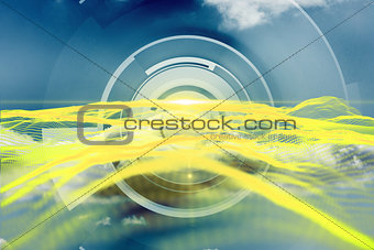 Abstract yellow design on blue and white