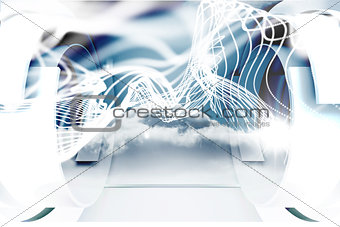 Abstract white wave design