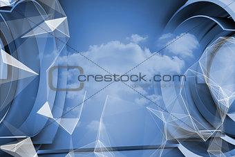 Blue cloud design in structure