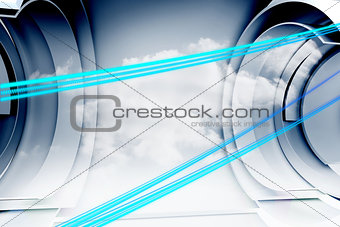 Abstract blue line design