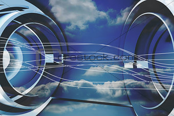 Abstract white line design on blue sky
