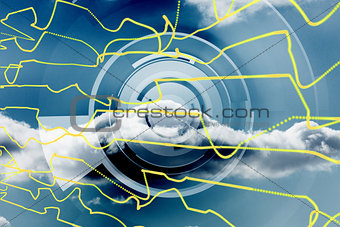 Abstract yellow line design on blue sky