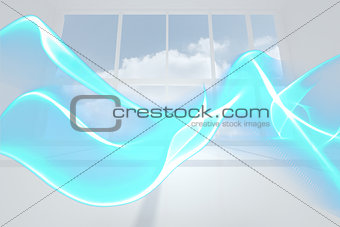 Abstract blue wave design in room