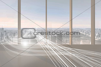 Abstract white line design in room