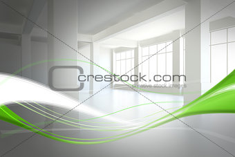 Abstract white and green line design in room