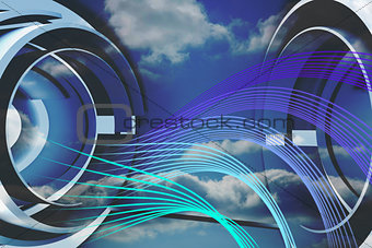 Abstract blue and purple line design