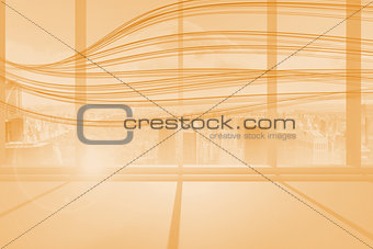 Abstract orange line design in room