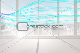 Abstract blue line design in room