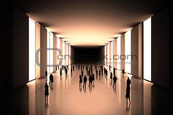 Tiny figures in black hall