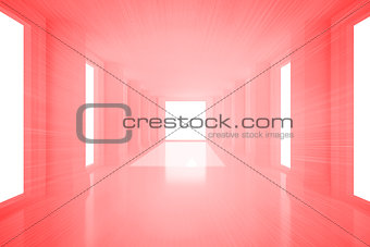 Bright red room with windows