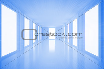 Bright blue hall with windows