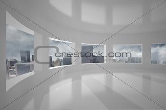 Cityscape seen through windows