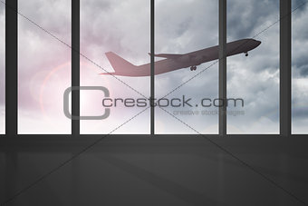 Airplane flying past windows