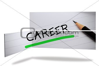 Career in handwriting on abstract screen