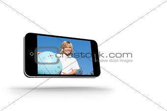 Blonde happy boy on smartphone screen
