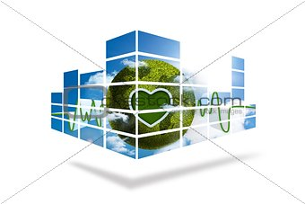 Green earth on abstract screen