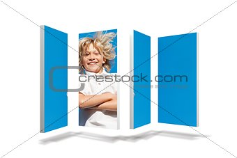 Blonde boy on abstract screen