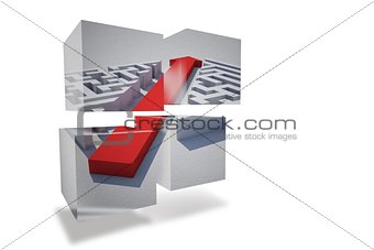 Arrow through maze on abstract screen