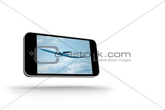 Airplane on smartphone screen