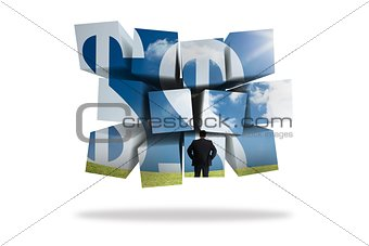 Businessman and dollar signs on abstract screen