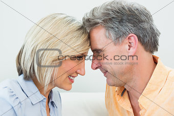 Close-up side view of a happy loving couple
