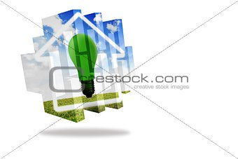 Green light bulb on abstract screen